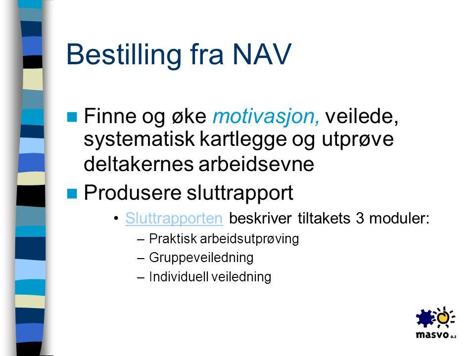 Bestilling fra NAV  Finne og øke motivasjon, veilede, systematisk kartlegge og utprøve deltakernes arbeidsevne  Produsere sluttrapport •Sluttrapport