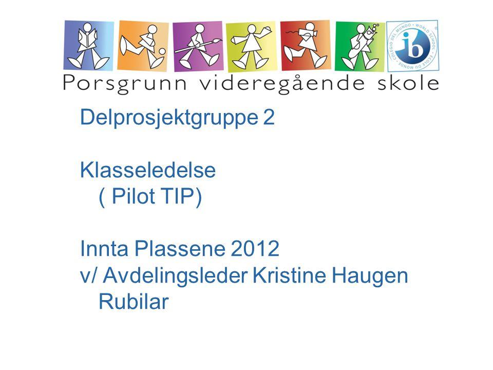 Delprosjektgruppe 2 Klasseledelse ( Pilot TIP) Innta Plassene 2012 v/ Avdelingsleder Kristine Haugen Rubilar