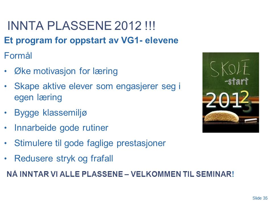 Slide 35 INNTA PLASSENE 2012 !!.