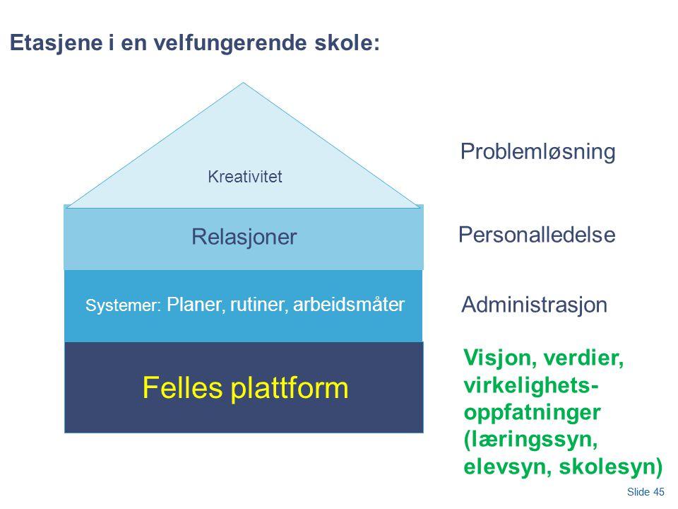 Slide 45 Etasjene i en velfungerende skole: Felles plattform Systemer: Planer, rutiner, arbeidsmåter Relasjoner Kreativitet Personalledelse Administrasjon Problemløsning Visjon, verdier, virkelighets- oppfatninger (læringssyn, elevsyn, skolesyn) Slide 45