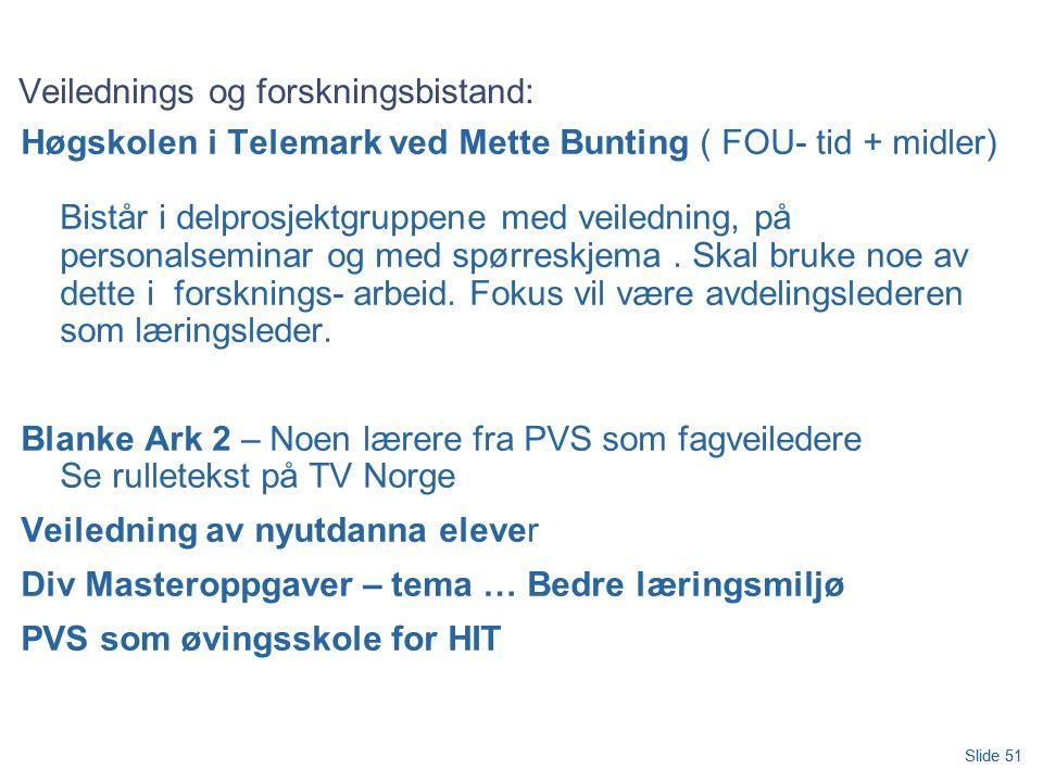 Slide 51 Veilednings og forskningsbistand: Høgskolen i Telemark ved Mette Bunting ( FOU- tid + midler) Bistår i delprosjektgruppene med veiledning, på personalseminar og med spørreskjema.