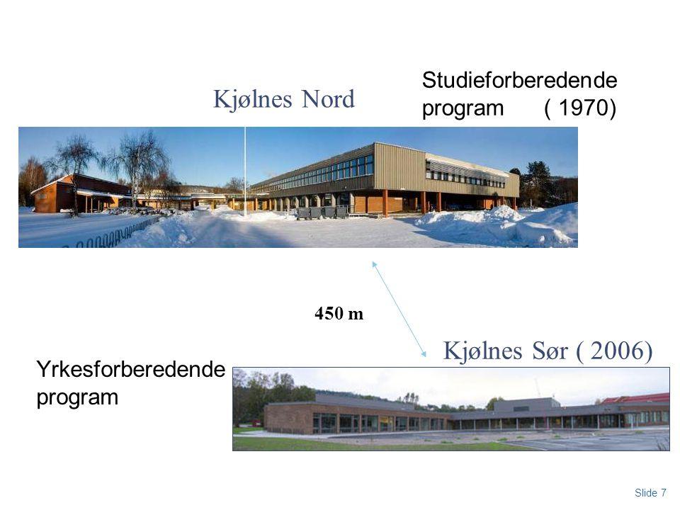 Slide 7 450 m Kjølnes Nord Kjølnes Sør ( 2006) Studieforberedende program ( 1970) Yrkesforberedende program