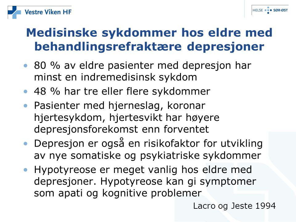 Medisinske sykdommer hos eldre med behandlingsrefraktære depresjoner •80 % av eldre pasienter med depresjon har minst en indremedisinsk sykdom •48 % h