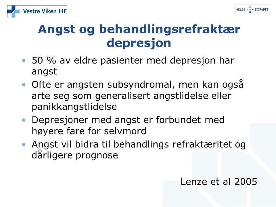 Angst og behandlingsrefraktær depresjon •50 % av eldre pasienter med depresjon har angst •Ofte er angsten subsyndromal, men kan også arte seg som gene