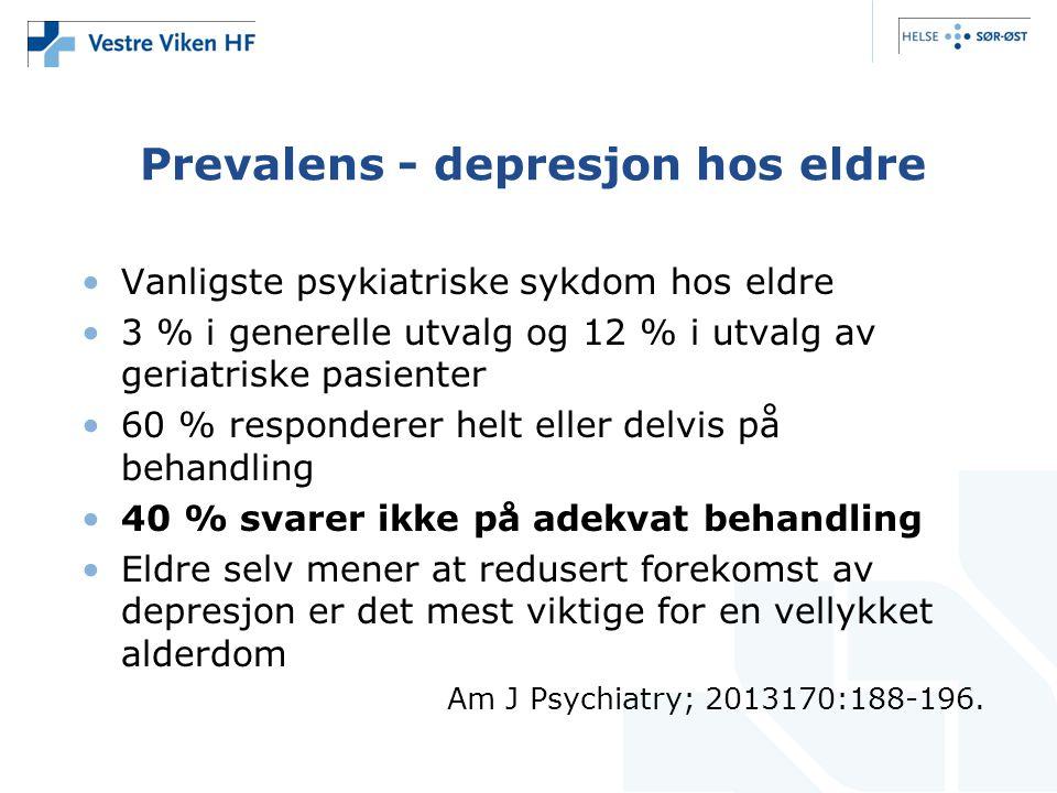 Prevalens - depresjon hos eldre •Vanligste psykiatriske sykdom hos eldre •3 % i generelle utvalg og 12 % i utvalg av geriatriske pasienter •60 % respo