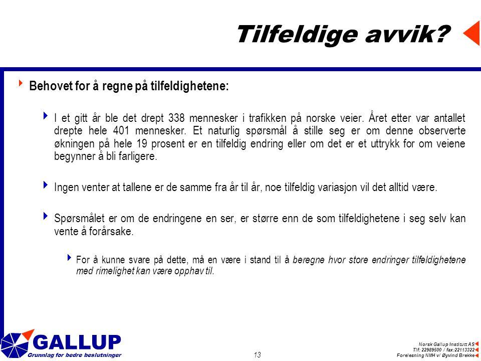 Norsk Gallup Institutt AS Tlf: 22989500 / fax:22113322 Forelesning NMH v/ Øyvind Brekke GALLUP Grunnlag for bedre beslutninger 13 Tilfeldige avvik.