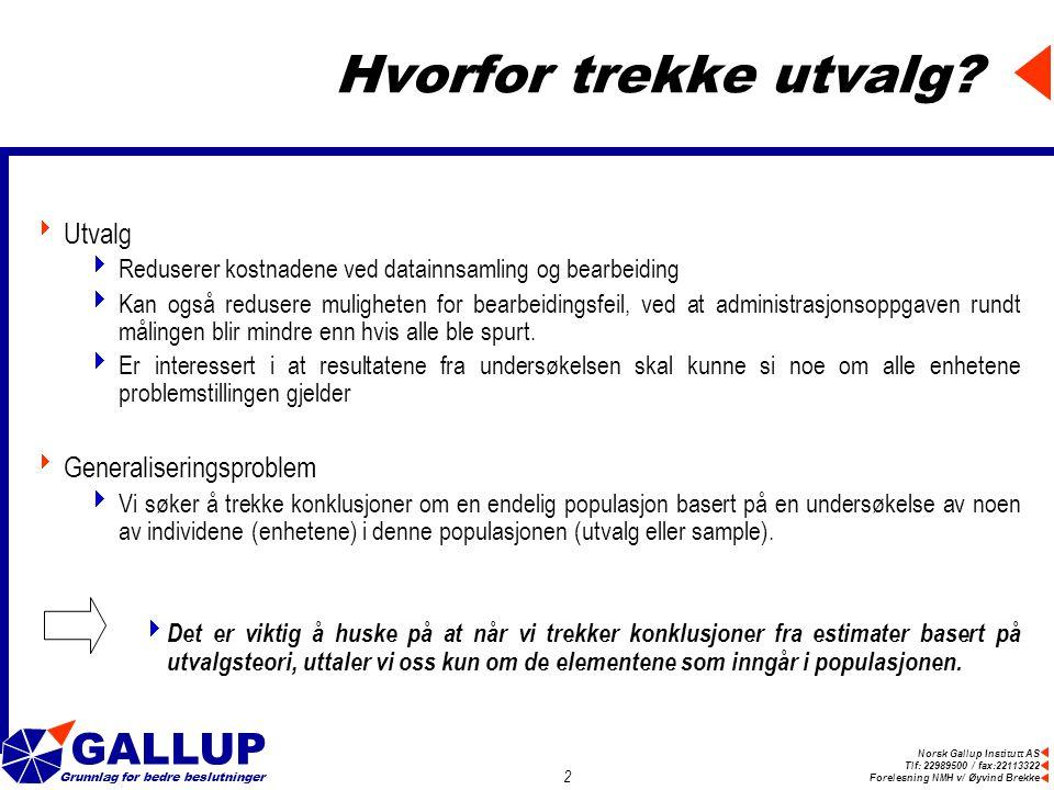 Norsk Gallup Institutt AS Tlf: 22989500 / fax:22113322 Forelesning NMH v/ Øyvind Brekke GALLUP Grunnlag for bedre beslutninger 2 Hvorfor trekke utvalg.