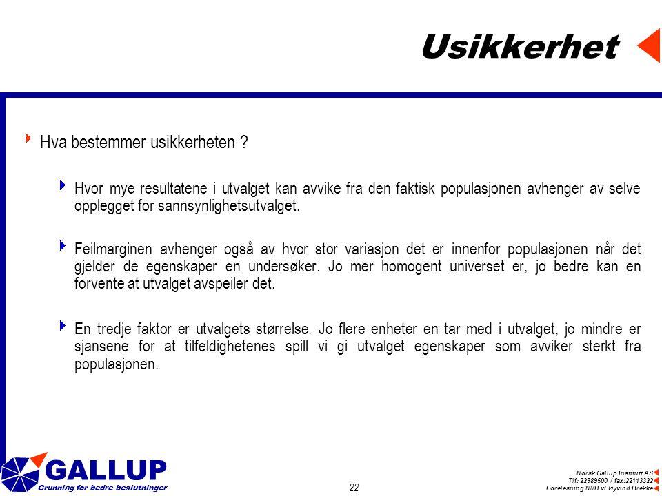 Norsk Gallup Institutt AS Tlf: 22989500 / fax:22113322 Forelesning NMH v/ Øyvind Brekke GALLUP Grunnlag for bedre beslutninger 22 Usikkerhet  Hva bestemmer usikkerheten .
