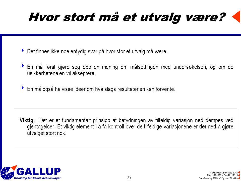 Norsk Gallup Institutt AS Tlf: 22989500 / fax:22113322 Forelesning NMH v/ Øyvind Brekke GALLUP Grunnlag for bedre beslutninger 23 Hvor stort må et utvalg være.