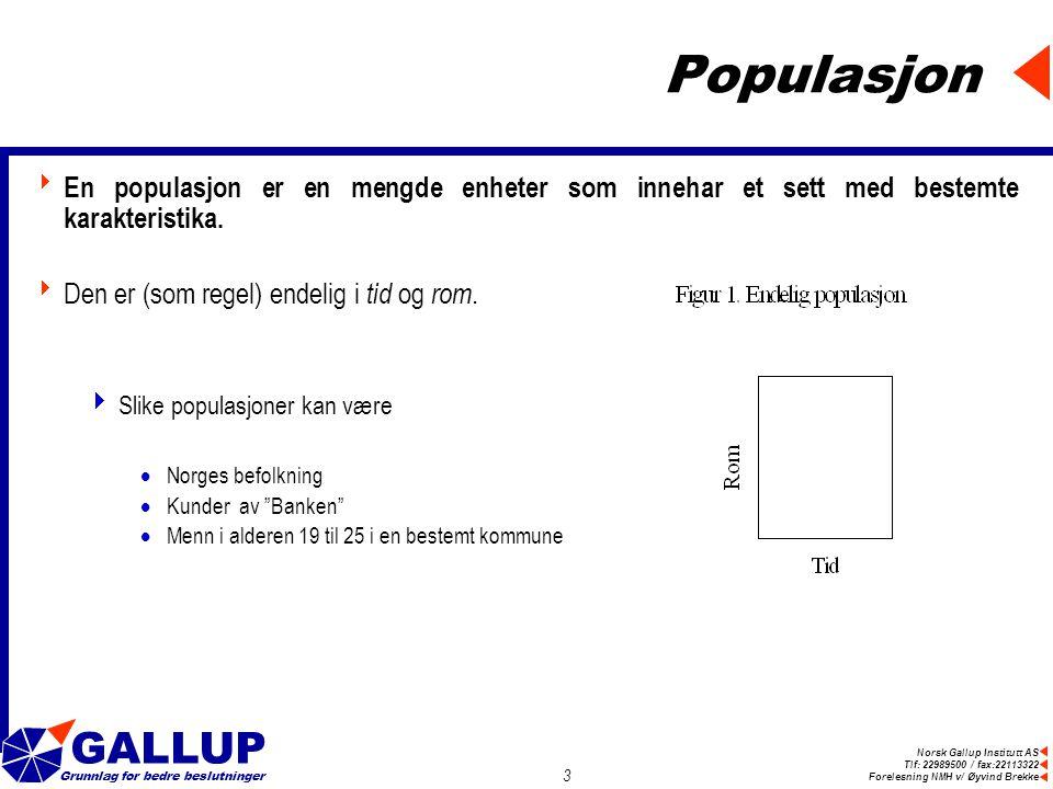 Norsk Gallup Institutt AS Tlf: 22989500 / fax:22113322 Forelesning NMH v/ Øyvind Brekke GALLUP Grunnlag for bedre beslutninger 3 Populasjon  En populasjon er en mengde enheter som innehar et sett med bestemte karakteristika.