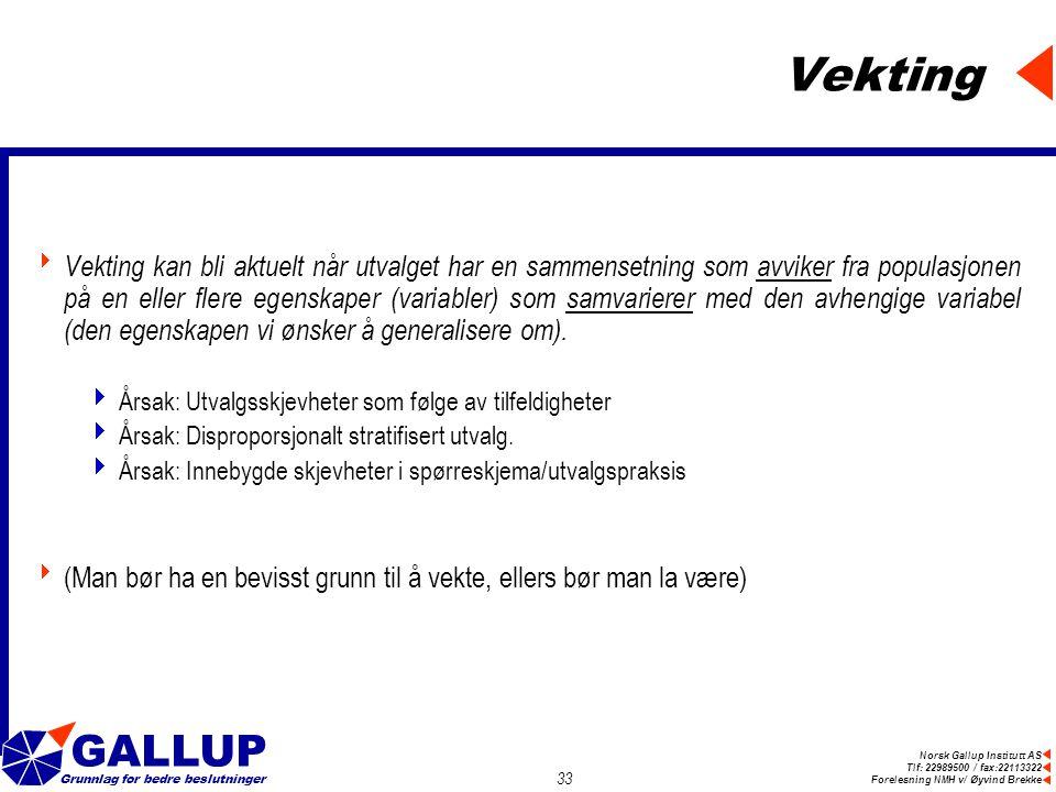 Norsk Gallup Institutt AS Tlf: 22989500 / fax:22113322 Forelesning NMH v/ Øyvind Brekke GALLUP Grunnlag for bedre beslutninger 33 Vekting  Vekting kan bli aktuelt når utvalget har en sammensetning som avviker fra populasjonen på en eller flere egenskaper (variabler) som samvarierer med den avhengige variabel (den egenskapen vi ønsker å generalisere om).