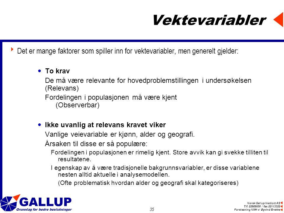 Norsk Gallup Institutt AS Tlf: 22989500 / fax:22113322 Forelesning NMH v/ Øyvind Brekke GALLUP Grunnlag for bedre beslutninger 35 Vektevariabler  Det er mange faktorer som spiller inn for vektevariabler, men generelt gjelder:  To krav De må være relevante for hovedproblemstillingen i undersøkelsen (Relevans) Fordelingen i populasjonen må være kjent (Observerbar)  Ikke uvanlig at relevans kravet viker Vanlige veievariable er kjønn, alder og geografi.