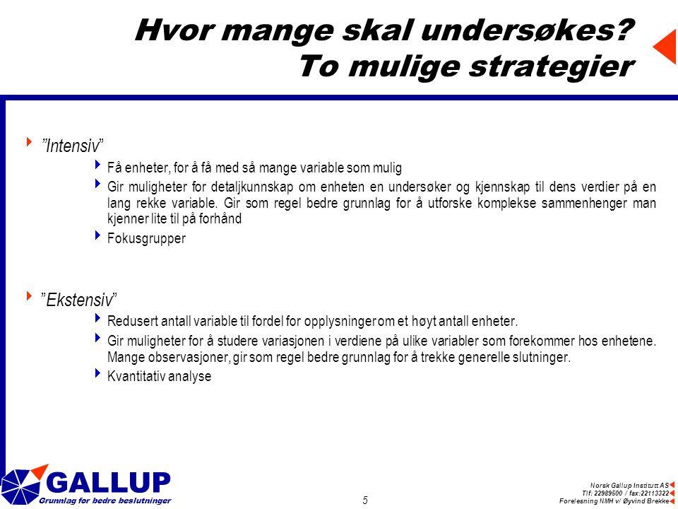 Norsk Gallup Institutt AS Tlf: 22989500 / fax:22113322 Forelesning NMH v/ Øyvind Brekke GALLUP Grunnlag for bedre beslutninger 5 Hvor mange skal undersøkes.