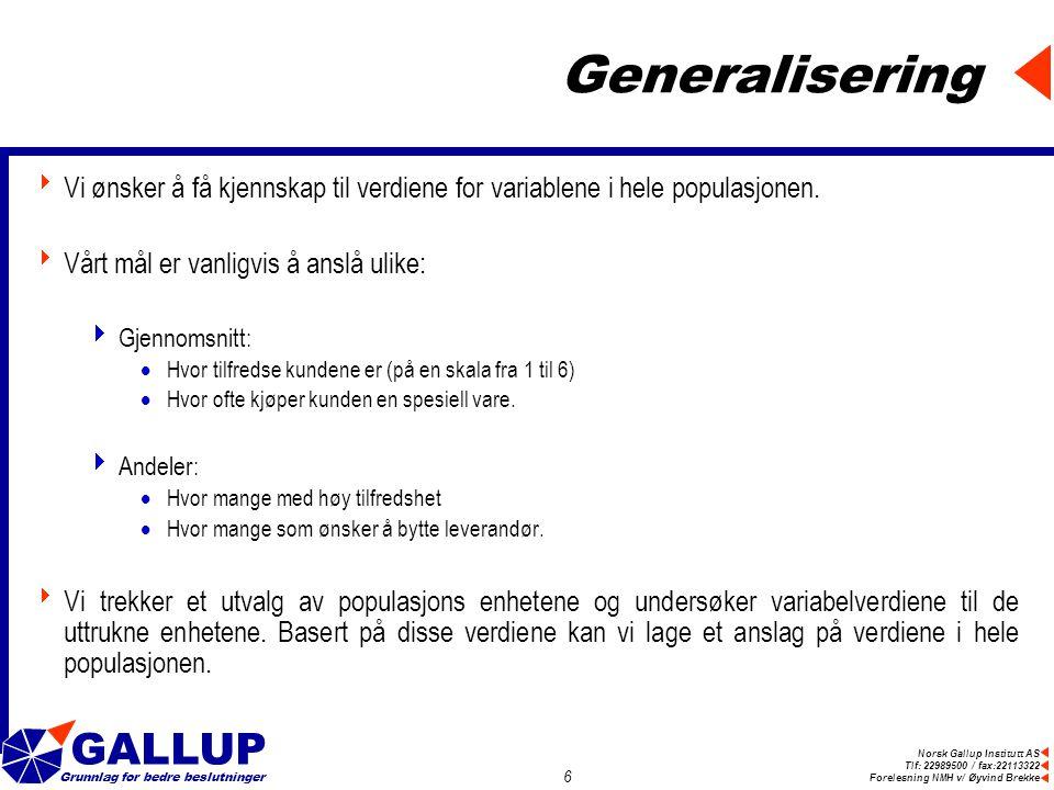 Norsk Gallup Institutt AS Tlf: 22989500 / fax:22113322 Forelesning NMH v/ Øyvind Brekke GALLUP Grunnlag for bedre beslutninger 6 Generalisering  Vi ønsker å få kjennskap til verdiene for variablene i hele populasjonen.