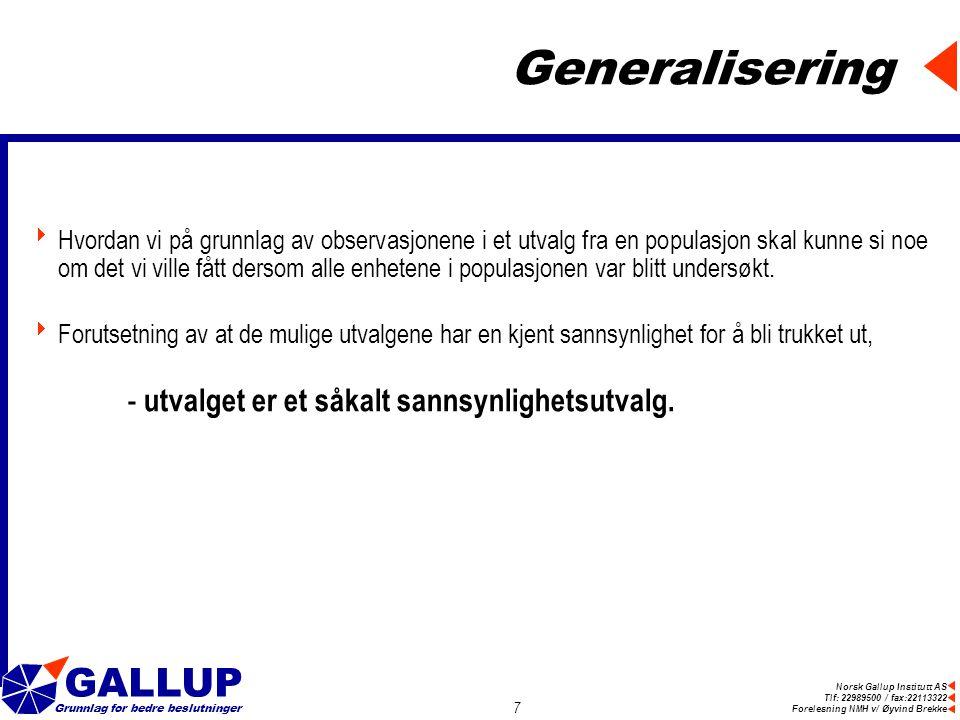 Norsk Gallup Institutt AS Tlf: 22989500 / fax:22113322 Forelesning NMH v/ Øyvind Brekke GALLUP Grunnlag for bedre beslutninger 7 Generalisering  Hvordan vi på grunnlag av observasjonene i et utvalg fra en populasjon skal kunne si noe om det vi ville fått dersom alle enhetene i populasjonen var blitt undersøkt.