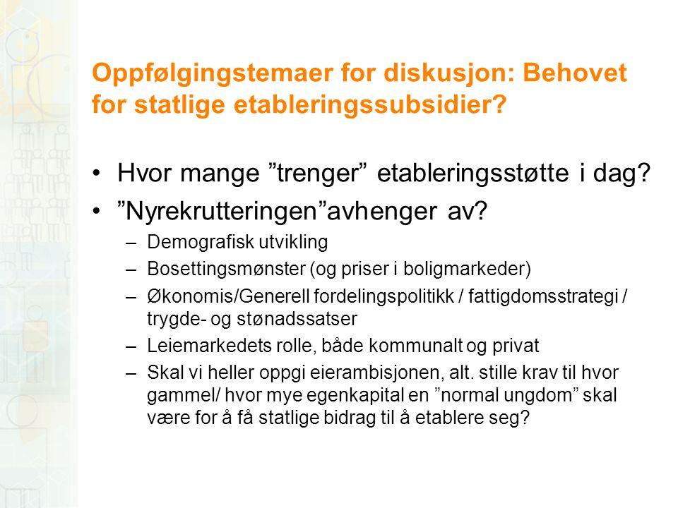 """Oppfølgingstemaer for diskusjon: Behovet for statlige etableringssubsidier? •Hvor mange """"trenger"""" etableringsstøtte i dag? •""""Nyrekrutteringen""""avhenger"""