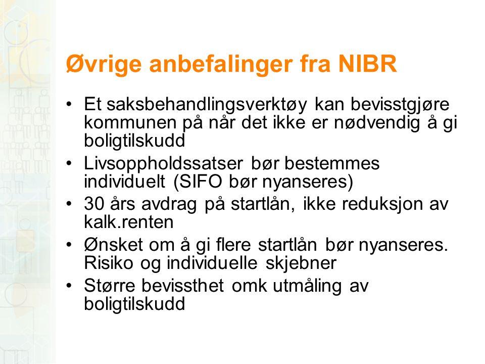 Øvrige anbefalinger fra NIBR •Et saksbehandlingsverktøy kan bevisstgjøre kommunen på når det ikke er nødvendig å gi boligtilskudd •Livsoppholdssatser