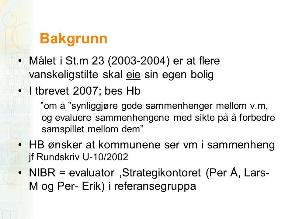 """Bakgrunn •Målet i St.m 23 (2003-2004) er at flere vanskeligstilte skal eie sin egen bolig •I tbrevet 2007; bes Hb """"om å """"synliggjøre gode sammenhenger"""