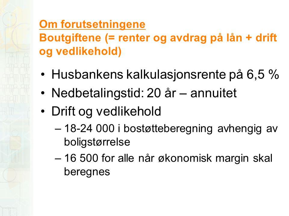 Om forutsetningene Boutgiftene (= renter og avdrag på lån + drift og vedlikehold) •Husbankens kalkulasjonsrente på 6,5 % •Nedbetalingstid: 20 år – ann