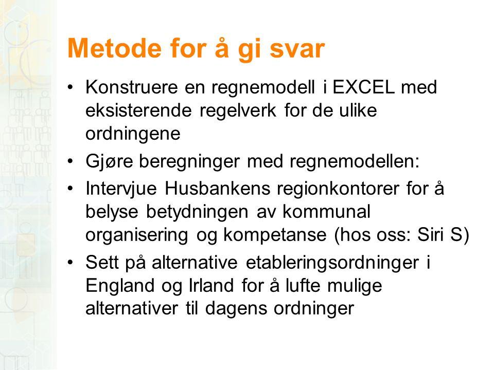 Metode for å gi svar •Konstruere en regnemodell i EXCEL med eksisterende regelverk for de ulike ordningene •Gjøre beregninger med regnemodellen: •Inte