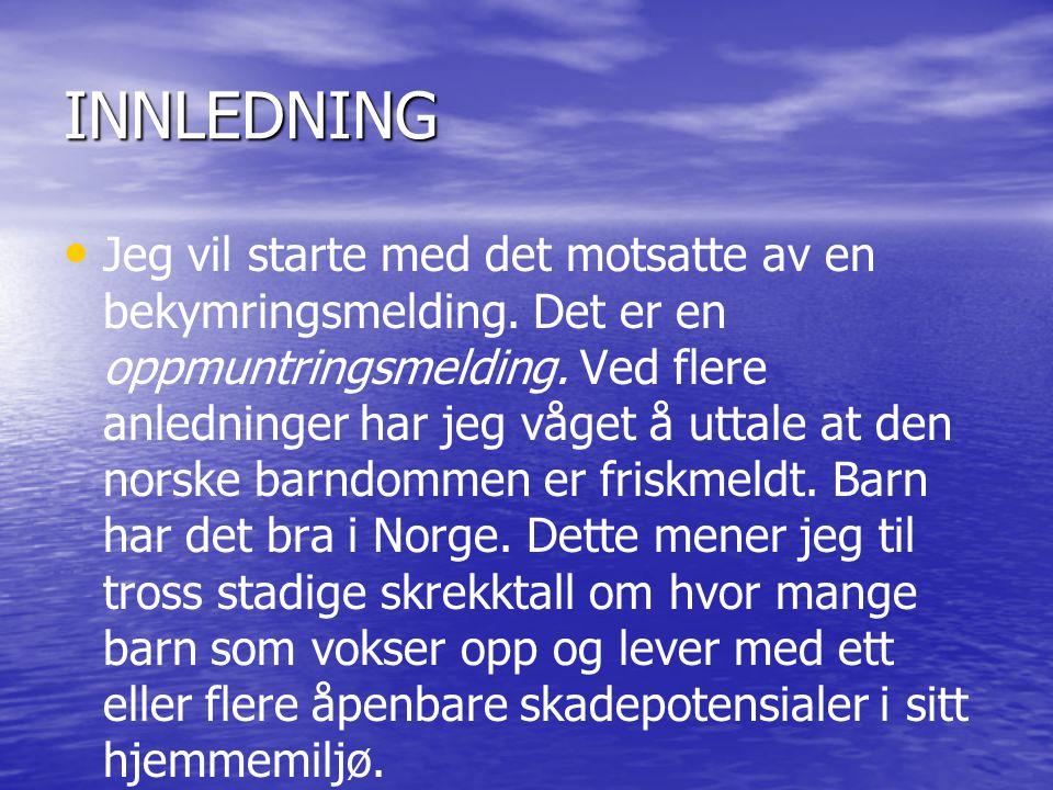 INNLEDNING • • Jeg vil starte med det motsatte av en bekymringsmelding. Det er en oppmuntringsmelding. Ved flere anledninger har jeg våget å uttale at