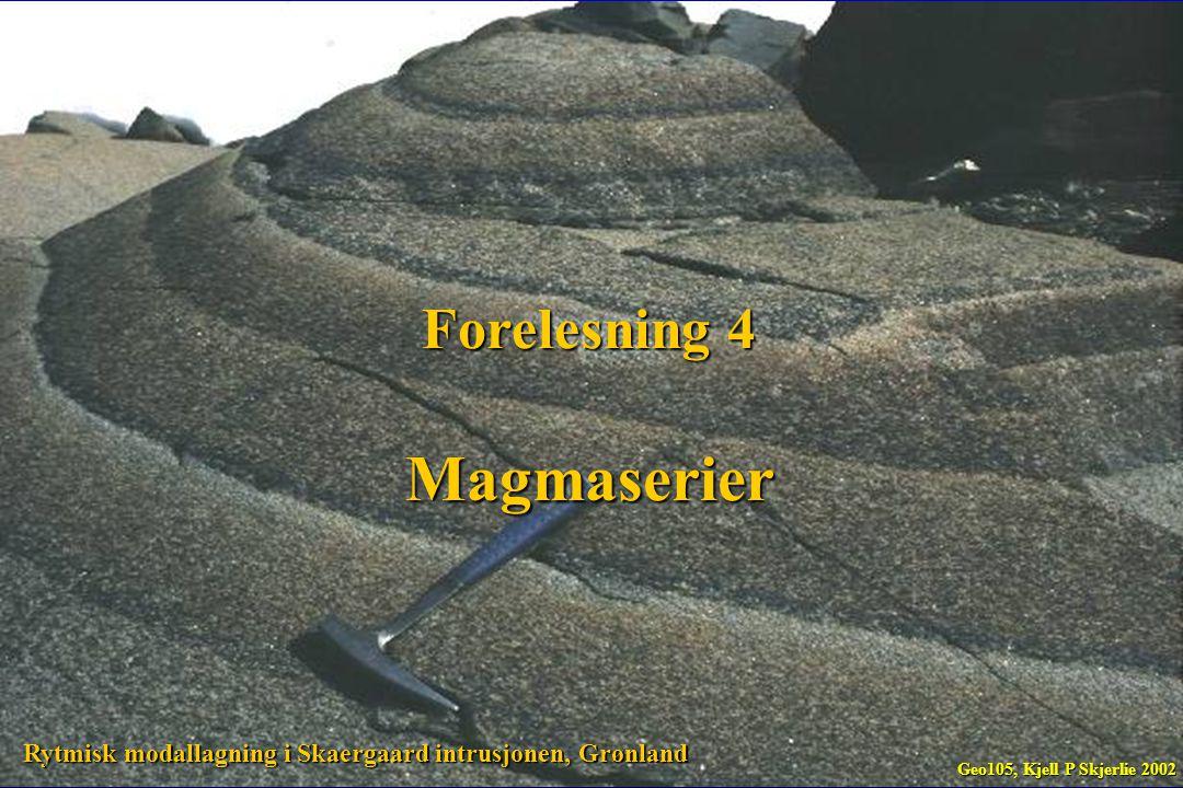 Stratovulkaner kan være bygget opp av aske og strømmer med forskjellig sammensetning basaltisk andesitt (ca 50 wt% SiO 2 ) basaltisk andesitt (ca 50 wt% SiO 2 ) andesitt andesitt dacitt dacitt rhyolitt (ca 70 wt% SiO 2 ) rhyolitt (ca 70 wt% SiO 2 ) Tilsvarende intrusiver varierer i sammensetning fra basalt til granitt Geo105, Kjell P Skjerlie 2002