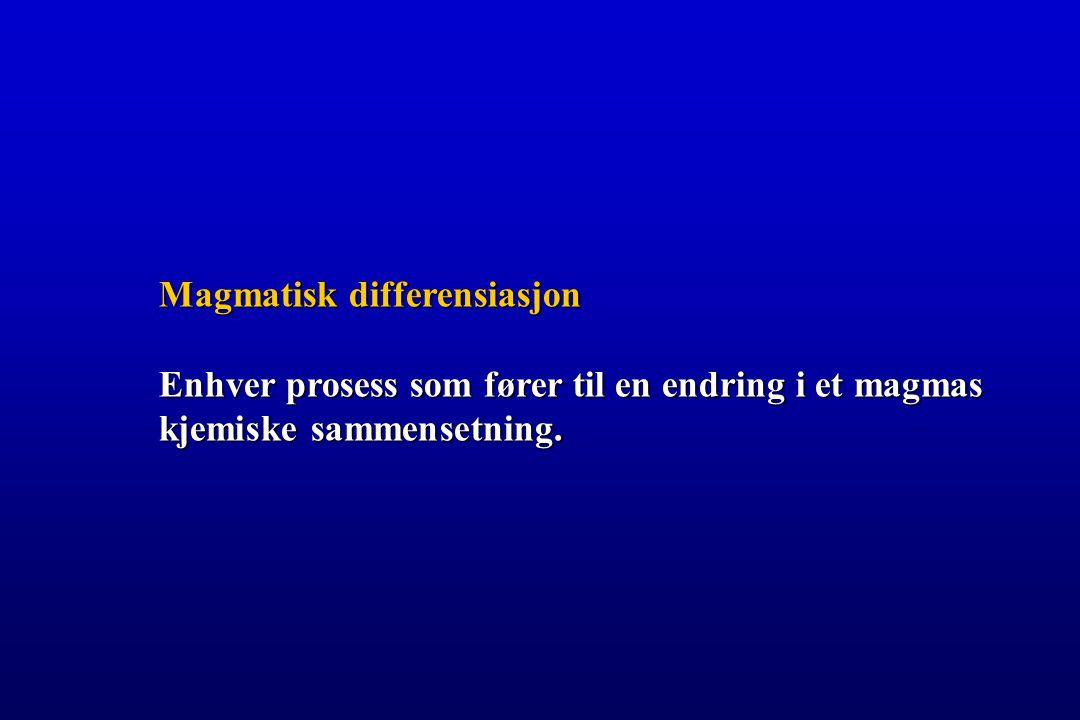Magmatisk differensiasjon Enhver prosess som fører til en endring i et magmas kjemiske sammensetning.