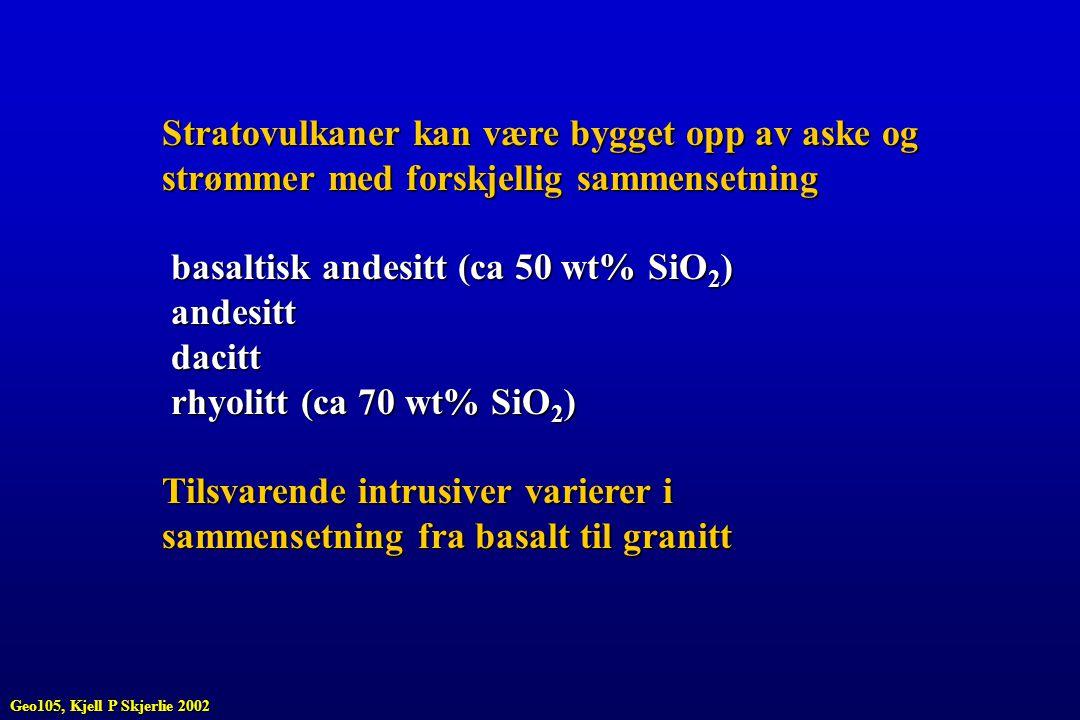 Stratovulkaner kan være bygget opp av aske og strømmer med forskjellig sammensetning basaltisk andesitt (ca 50 wt% SiO 2 ) basaltisk andesitt (ca 50 w