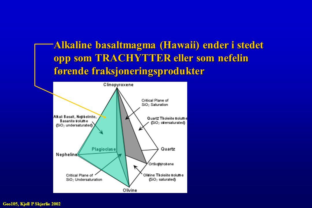 Alkaline basaltmagma (Hawaii) ender i stedet opp som TRACHYTTER eller som nefelin førende fraksjoneringsprodukter Geo105, Kjell P Skjerlie 2002