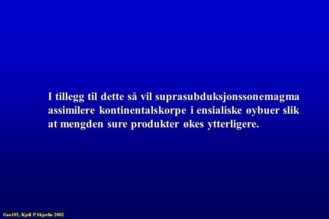 I tillegg til dette så vil suprasubduksjonssonemagma assimilere kontinentalskorpe i ensialiske øybuer slik at mengden sure produkter økes ytterligere.