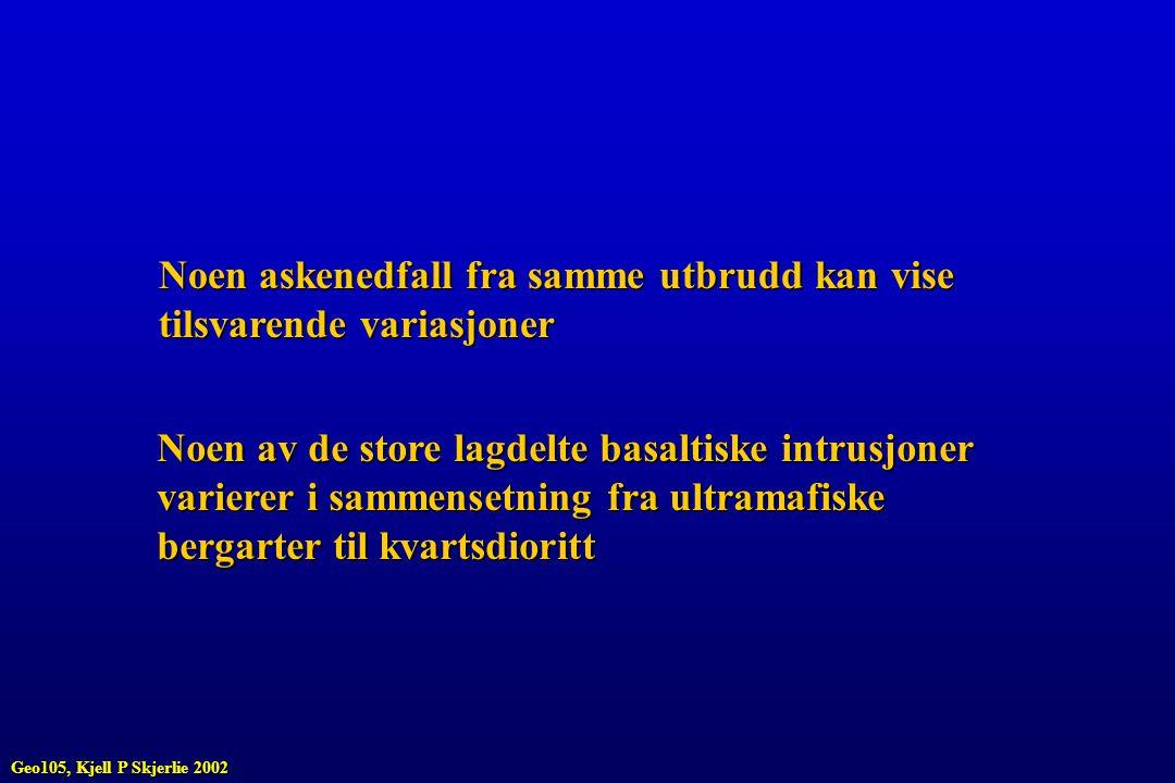Liquidus mineral vil være Mg-rik olivin OLIVIN (Mg, Fe) 2 SiO 4 Geo105, Kjell P Skjerlie 2002
