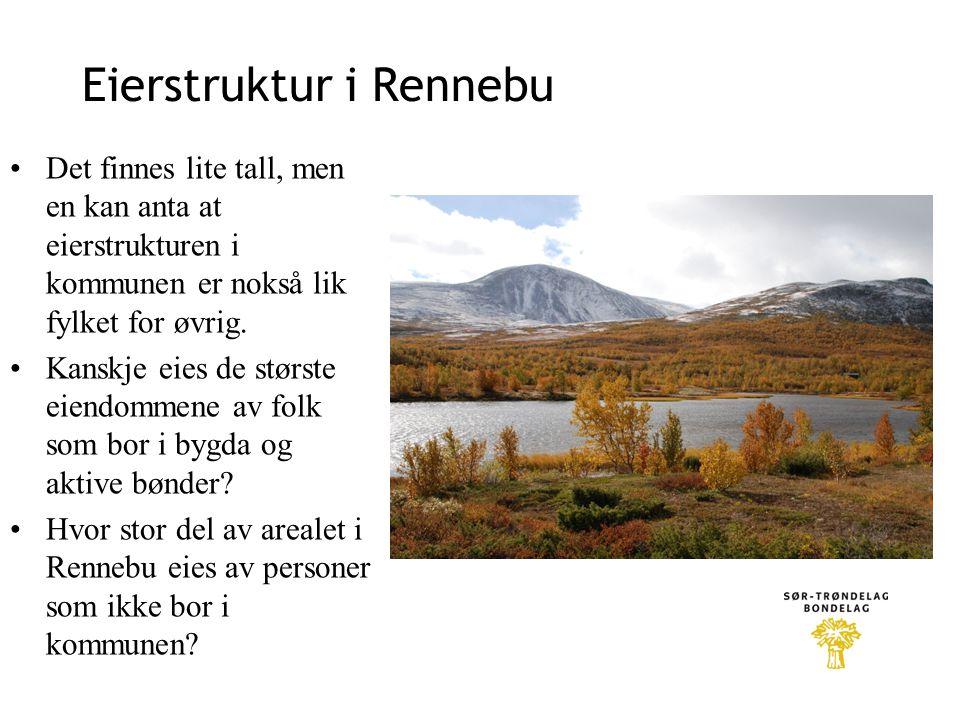 Eierstruktur i Rennebu •Det finnes lite tall, men en kan anta at eierstrukturen i kommunen er nokså lik fylket for øvrig. •Kanskje eies de største eie