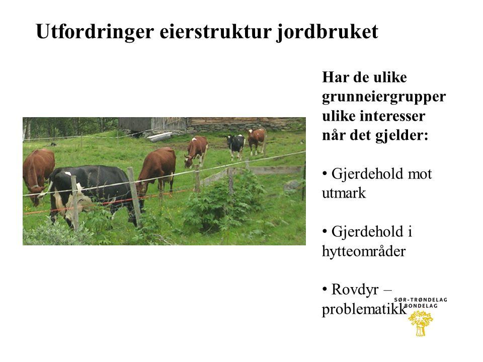 Utfordringer eierstruktur jordbruket Har de ulike grunneiergrupper ulike interesser når det gjelder: • Gjerdehold mot utmark • Gjerdehold i hytteområd