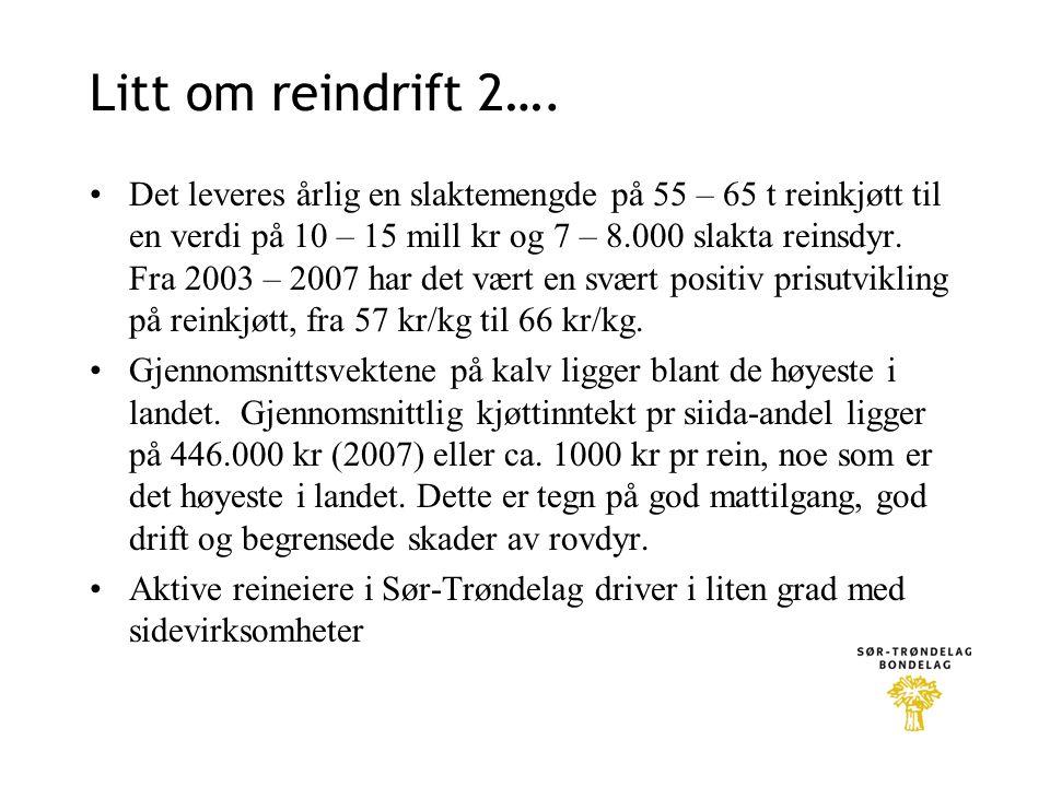 Litt om reindrift 2…. •Det leveres årlig en slaktemengde på 55 – 65 t reinkjøtt til en verdi på 10 – 15 mill kr og 7 – 8.000 slakta reinsdyr. Fra 2003