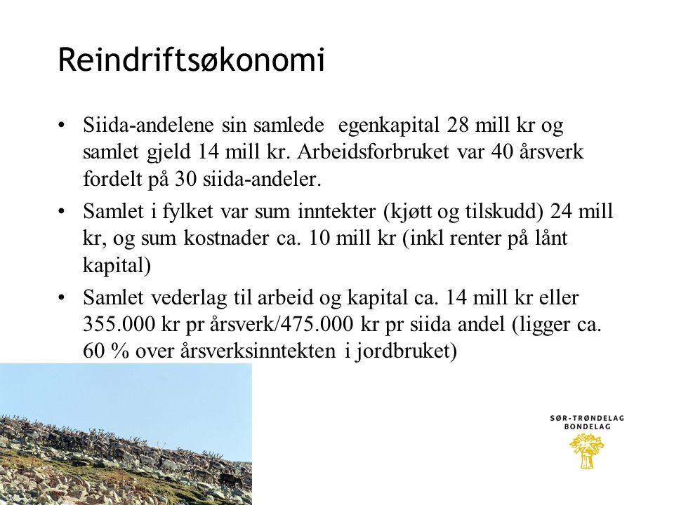 Reindriftsøkonomi •Siida-andelene sin samlede egenkapital 28 mill kr og samlet gjeld 14 mill kr. Arbeidsforbruket var 40 årsverk fordelt på 30 siida-a