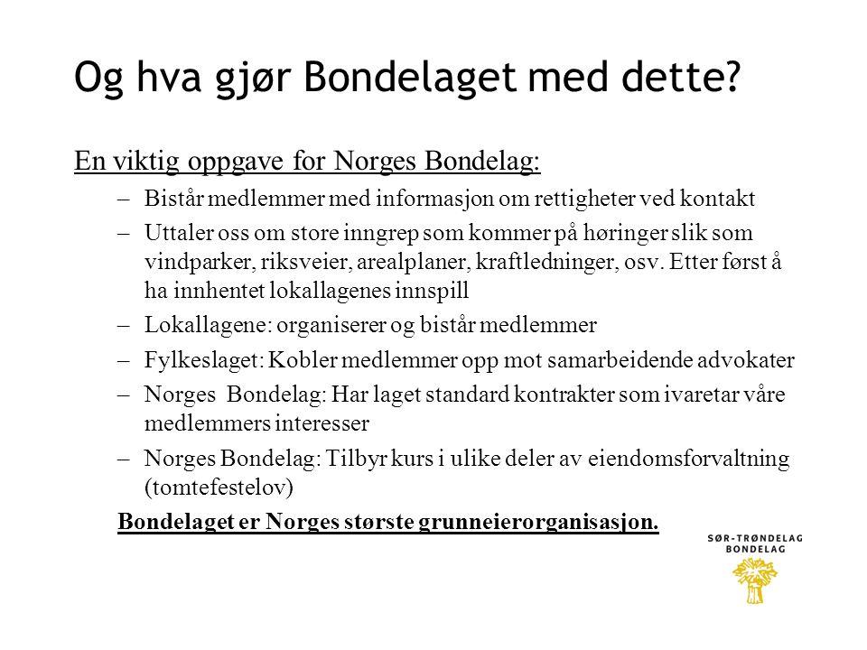 Og hva gjør Bondelaget med dette? En viktig oppgave for Norges Bondelag: –Bistår medlemmer med informasjon om rettigheter ved kontakt –Uttaler oss om