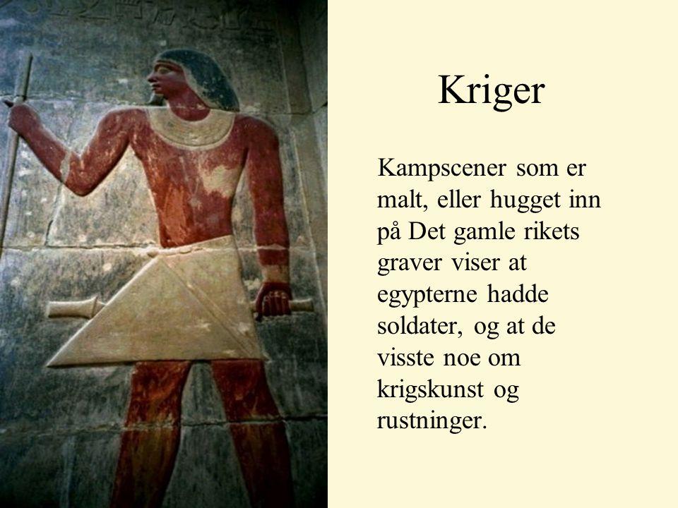 Kampscener som er malt, eller hugget inn på Det gamle rikets graver viser at egypterne hadde soldater, og at de visste noe om krigskunst og rustninger.