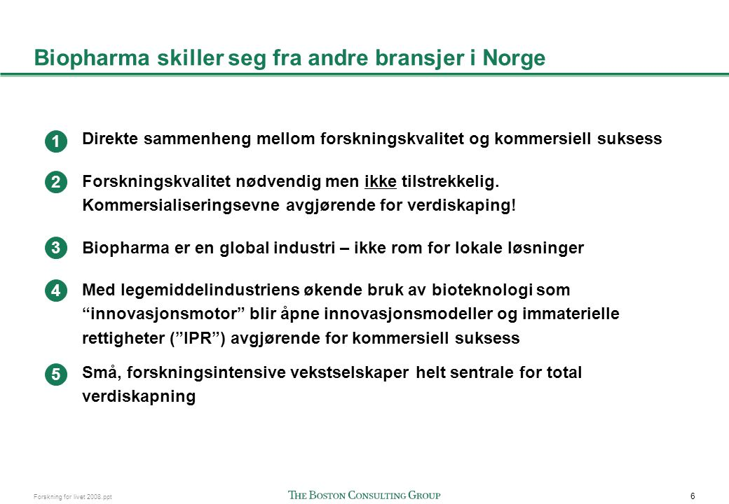 6 Forskning for livet 2008.ppt Biopharma skiller seg fra andre bransjer i Norge Direkte sammenheng mellom forskningskvalitet og kommersiell suksess Fo