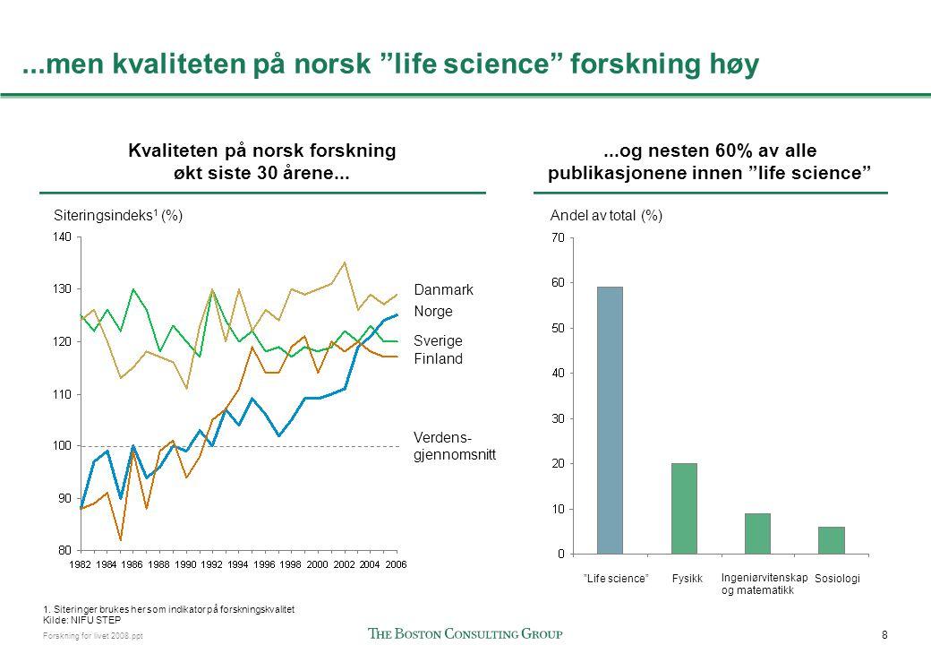 9 Forskning for livet 2008.ppt Norge har høy andel siteringer på flere hovedområder Vurdering av forskningskvalitet basert på andel siteringer innen områder med spesifikk fokus på bioteknologi – life science i Norden Andel Nordiske siteringer 2006-07 1 (%) SverigeNorgeDanmarkFinland 1.