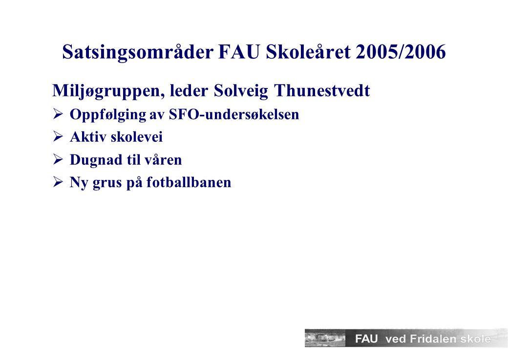 Satsingsområder FAU Skoleåret 2005/2006 Kulturgruppen, leder Frits Haans  Grunnskolens uke inkl. skibyttedag i november  Skibyttedag i samarbeid med