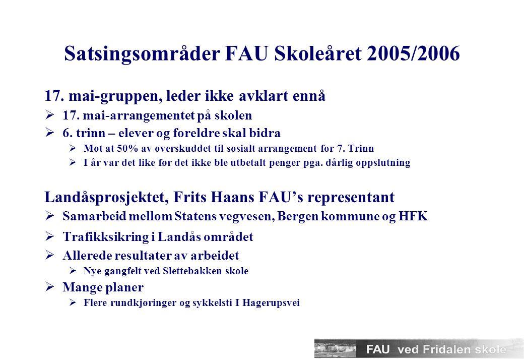 Satsingsområder FAU Skoleåret 2005/2006 Miljøgruppen, leder Solveig Thunestvedt  Oppfølging av SFO-undersøkelsen  Aktiv skolevei  Dugnad til våren