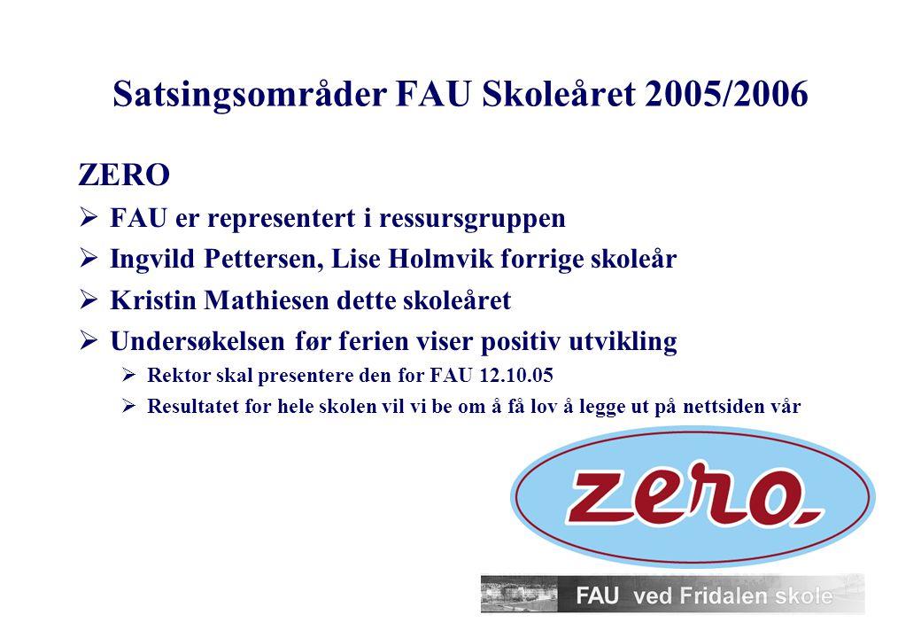 Satsingsområder FAU Skoleåret 2005/2006 17. mai-gruppen, leder ikke avklart ennå  17. mai-arrangementet på skolen  6. trinn – elever og foreldre ska