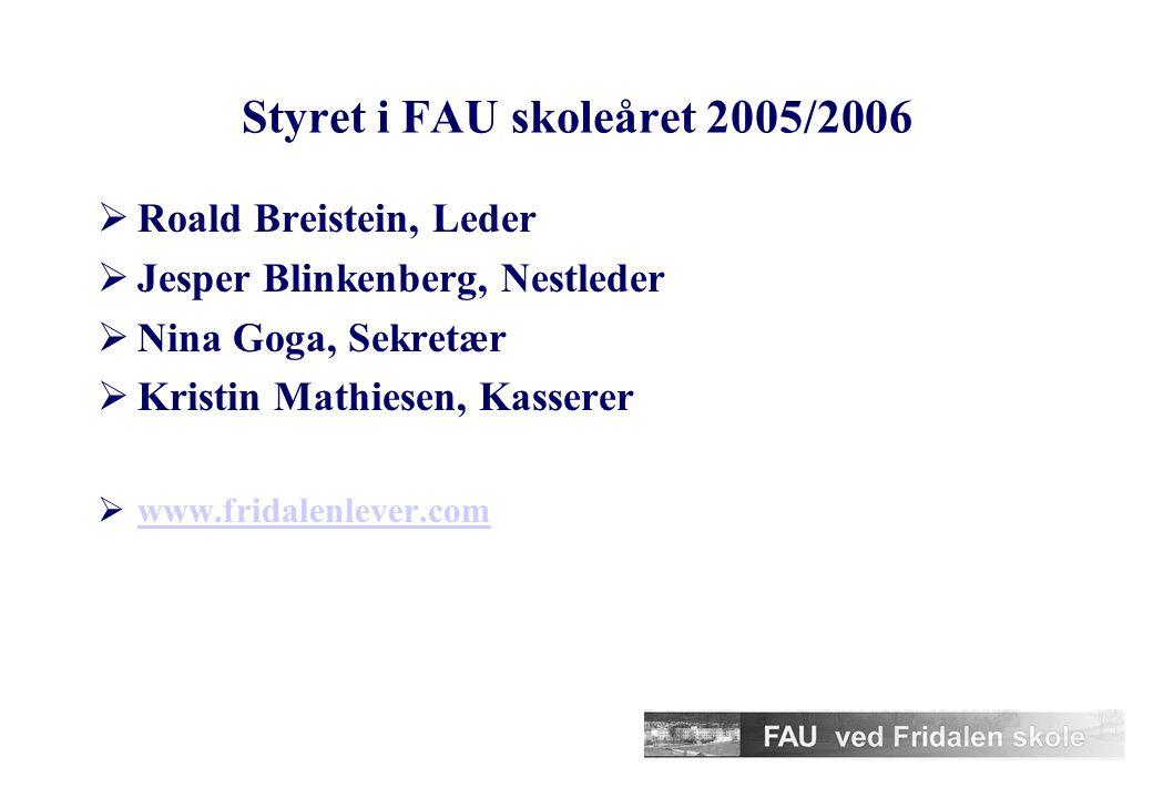 Styret i FAU skoleåret 2005/2006  Roald Breistein, Leder  Jesper Blinkenberg, Nestleder  Nina Goga, Sekretær  Kristin Mathiesen, Kasserer  www.fridalenlever.com www.fridalenlever.com