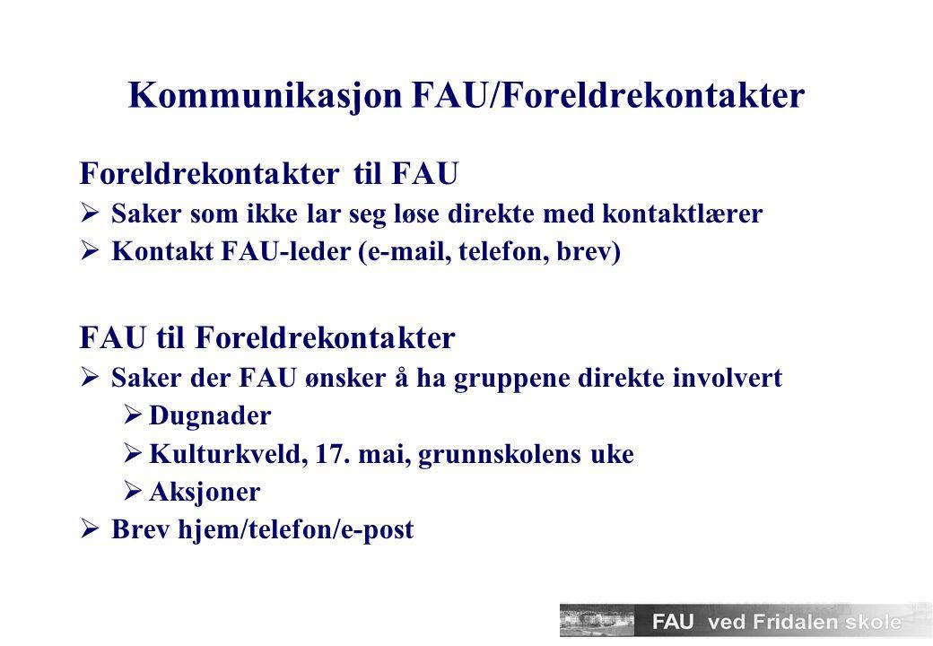 Kommunikasjon FAU/Foreldrekontakter Foreldrekontakter til FAU  Saker som ikke lar seg løse direkte med kontaktlærer  Kontakt FAU-leder (e-mail, telefon, brev) FAU til Foreldrekontakter  Saker der FAU ønsker å ha gruppene direkte involvert  Dugnader  Kulturkveld, 17.