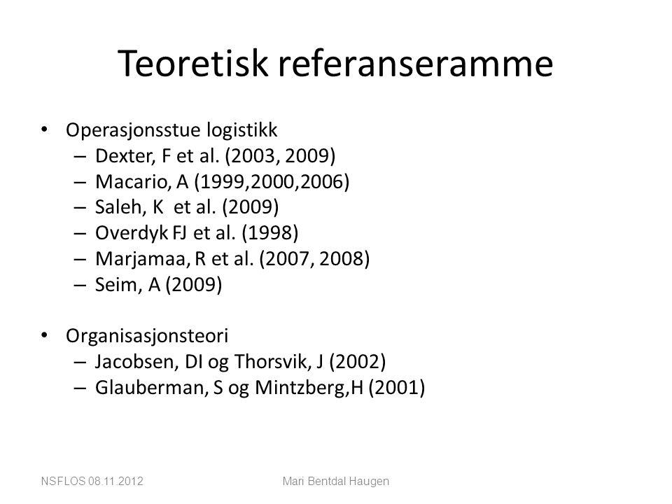 Teoretisk referanseramme • Operasjonsstue logistikk – Dexter, F et al. (2003, 2009) – Macario, A (1999,2000,2006) – Saleh, K et al. (2009) – Overdyk F