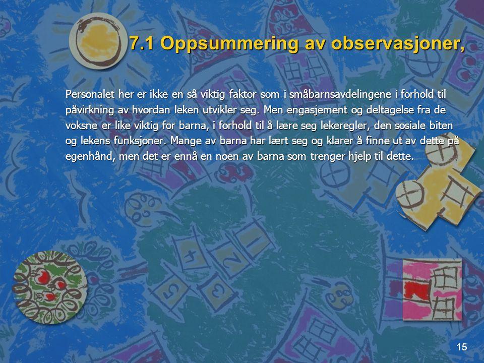 15 7.1 Oppsummering av observasjoner, Personalet her er ikke en så viktig faktor som i småbarnsavdelingene i forhold til påvirkning av hvordan leken u