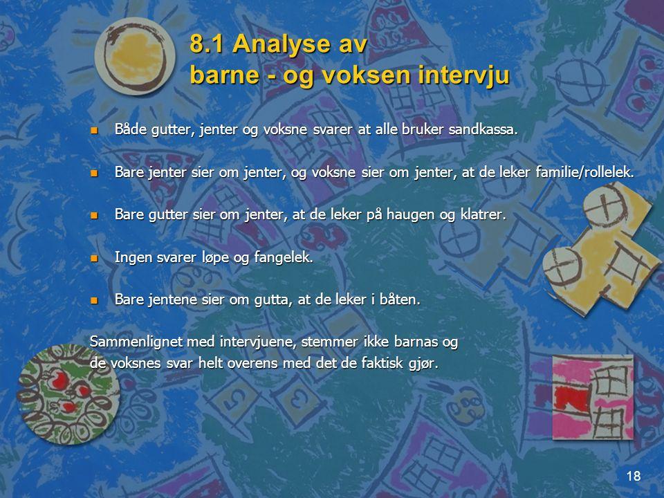 18 8.1 Analyse av barne - og voksen intervju n Både gutter, jenter og voksne svarer at alle bruker sandkassa. n Bare jenter sier om jenter, og voksne