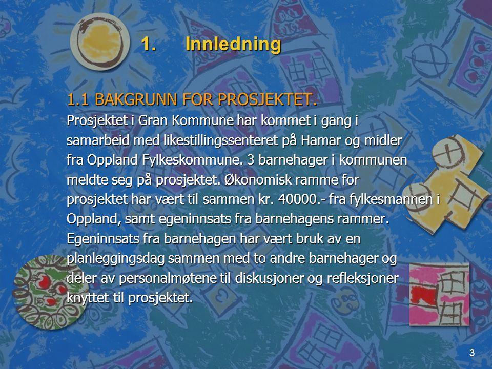 3 1.Innledning 1.1 BAKGRUNN FOR PROSJEKTET. Prosjektet i Gran Kommune har kommet i gang i samarbeid med likestillingssenteret på Hamar og midler fra O