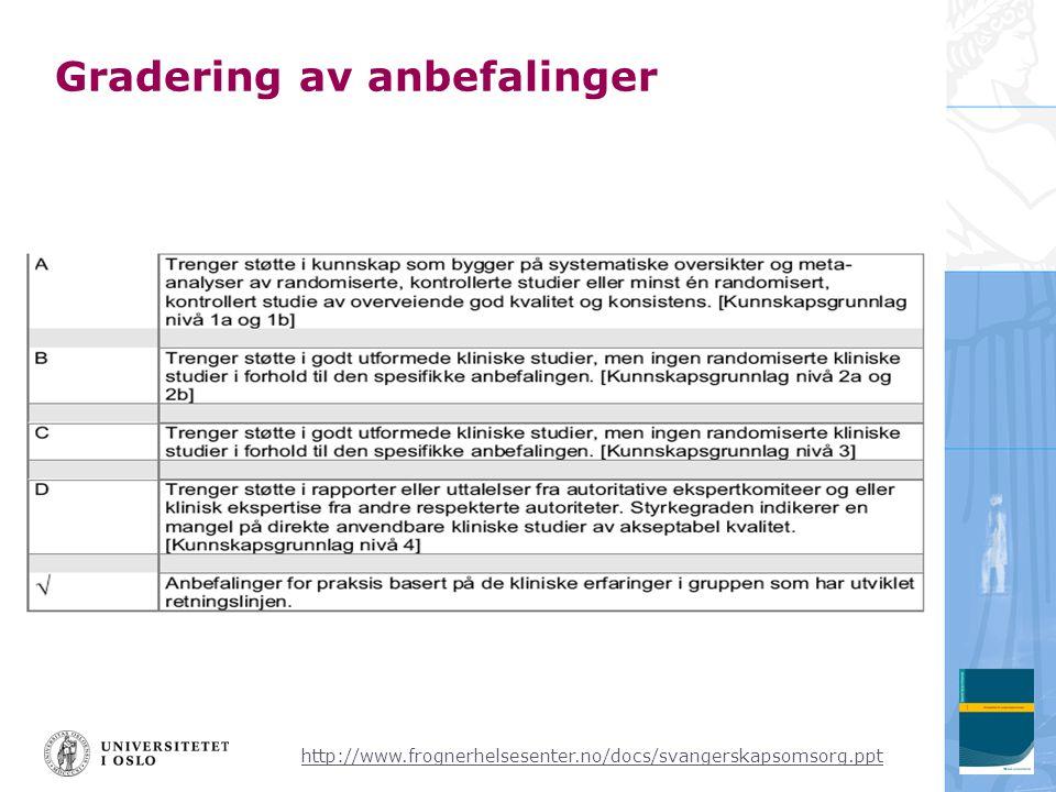 http://www.frognerhelsesenter.no/docs/svangerskapsomsorg.ppt Gradering av anbefalinger