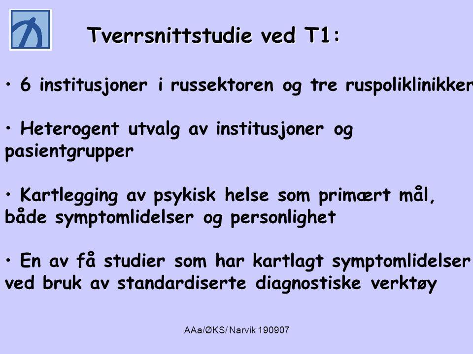 AAa/ØKS/ Narvik 190907 Tverrsnittstudie ved T1: Tverrsnittstudie ved T1: • 6 institusjoner i russektoren og tre ruspoliklinikker • Heterogent utvalg a